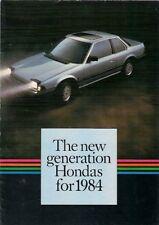 Honda 1984 UK Market Foldout Brochure Jazz Civic Shuttle CRX Accord Prelude