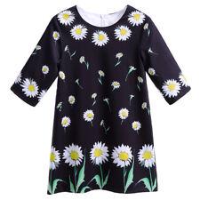 Girls Daisy Floral Dress Half Sleeve Kids Summer Casual Holiday Shift Dresses