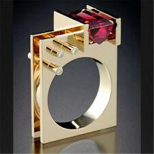 Vintage Jewelry 18K Yellow Gold Ruby Men's Ring Women Wedding Engagement Sz 6-10