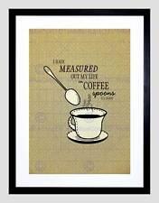 MEASURED MY LIFE COFFEE SPOONS ELIOT QUOTE SEPIA BLUR FRAME ART PRINT B12X13942