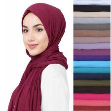 Jersey Stretchy Maxi Muslim Hijab Turban Head Scarf Shawl Wrap Cover Solid Color