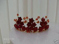 NEW STYLEbeautiful red rose & gold bead crystal tiara