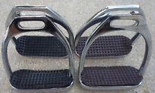 "Equitem Pair 4.5"" Wide English Stirrup Irons Black or Brown Pads"