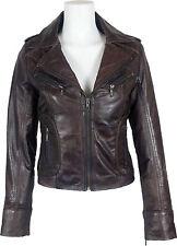 UNICORN Femmes 100% Réel en cuir Court  Mode Veste Brun Ciré #Z7