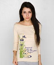 NEW American Apparel yoga Buddha purple IRIS long sleeve 3/4 sleeve shirt top