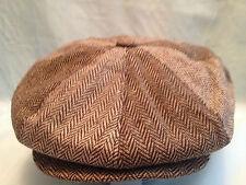 BROWN HERRINGBONE CABBIE CAP OR  BAKER BOY OR PAPERBOY OR NEWSBOY OR 8-PANEL CAP