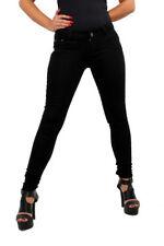 Womens Plain Black Stretch Jeans Skinny Cotton XL UP TO UK SIZE 16 D219