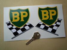 """BP 58-89 Shield & Chequered Flag Car STICKERS 4"""" Pair Lotus BRM Ferrari F1 Alfa"""