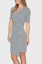 Karen Kane 1L18577 Blue Geo Stretch Jersey Crossover Drape Dress - $128