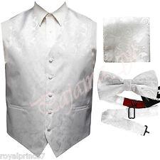 WHITE XS to 6XL Paisley Tuxedo Suit Dress Vest Waistcoat & Bow tie Hanky