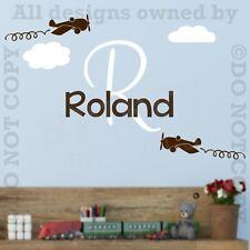 Personalized Monogram AIRPLANE Clouds Vinyl Wall Decal Sticker Custom Nursery