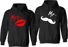 Mr. & Mrs. Mustache & Lips Couples Gildan Hoodie custom White and Red PRINT