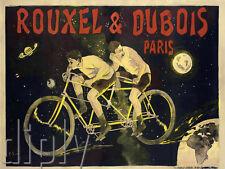 PLAQUE ALU DECO AFFICHE ROUXEL ET DUBOIS PARIS VELO TANDEM CYCLE COUREUR 1894