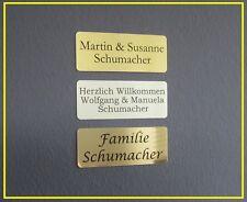 Metall Türschild, Namensschild, Klingelschild mit Gravur 100x40mm mit Gravur