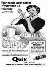 Vintage Quix washing liquid advertising  poster reproduction