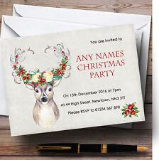 Acuarela Vintage Reno Ciervo Personalizado Invitaciones Fiesta De Navidad