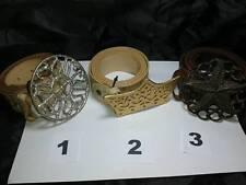 CINTURA PELLE MARRONE 4 CM FIBBIA GIOIELLO artigianale vintage BELT BUCKLE ME2