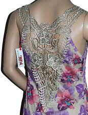 LADIES SHORT MINI TUNIC DRESS TOP SLEEVELESS ELEGANT-LACE-BACK -FLORAL-PRINT