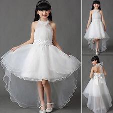 Girls White Flower Bridesmaid Party Wedding Pearl Dress Kids Dresse Age 2-13Year