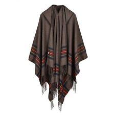 Mens Unisex Wool Blend Stripe Hooded Shawls Cloak Boho Gypsy Hippie Capes Exotic