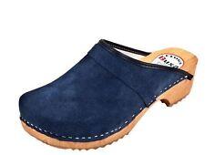 Wooden clogs  Dark blue color  Suede F1  Swedish style. US Shoe Size (Women's)