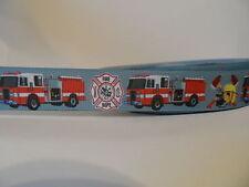 "Grosgrain Ribbon, Fire Dept Fire Trucks Emergency 911 Medical First Aid, 7/8"""