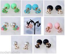 orecchini Doppia perla 3 fiori,moderni particolari super qualità da donna 7-col