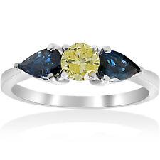1ct 3 Stone Fancy Yellow Diamond Pear Shape Blue Sapphire Engagement Ring 14k WG