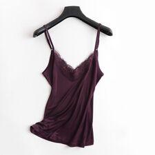 Women Silk Strap Vest Lace Sleeveless Shirt Tank Top Spaghetti Cami V Neck