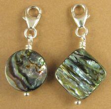 Abalone shell clip-on charm. Powa/paua. Blue/green. Sterling silver 925.