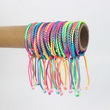 Wholesale lot 12-100pcs HandCraft Rainbow Colorful Satin Silk Knotted Bracelets