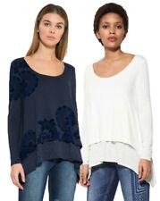 Desigual Strato Bianco/Nero Orlo Sami T-shirt girocollo XS-XXL UK 8-18 RRP 54