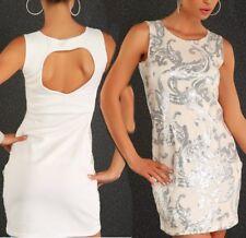 SeXy Miss Damen Mini Kleid Glitzer Pailletten Dress 34/36 36/38 weiß crem silber
