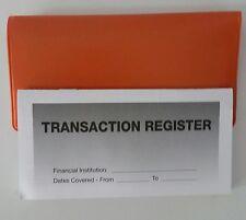 5 - Checkbook Transaction Registers & 1 Orange Vinyl Check Book Cover  Duplicate