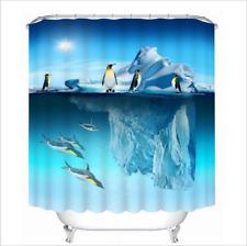 "60/72/79""Waterproof Polyester Fabric Shower Curtain &Hooks-Penguin Kingdom WG175"