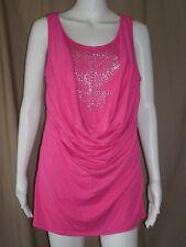 Jr.Pink Fashion Knit Top-Faux Rhinestone/Bead Decorated Inset-NoBo-Sz S,L,XL,2XL