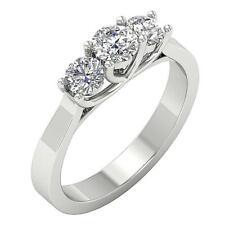 3 Stone Annivarsary Ring SI1 G 0.55Ct Natural Diamond 14K White Yelloe Rose Gold