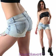 Pantaloncini donna shorts jeans chiari skinny aderenti hot pants short tasche