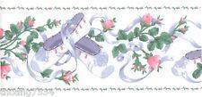 Blue Lavender Ballet Shoes Lace Ribbon Pink Mini Tea Rose Vine Wall paper Border