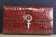 Neu Tasche Tasche Hayward Preiselbeere Rot Alligator Krokodil Satz Clutch Tasche