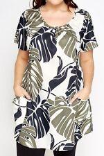Womens Multi Curve Tunic Leaf Print Pocket Scoop Short Sleeve Top Dress 16-32