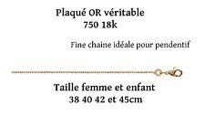 Fine chaine en vrai plaqué or veritable avec poinçon collier pour femme /enfant