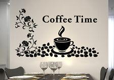 WandTattoo Wandsticker WandSpruch CAFE COFFEE KAFFEE KÜCHE Blumenranke kf03