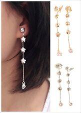 Long Flower Liquid Chandelier Tassel Dangle CLIP ON Earrings Non Pierced Ears