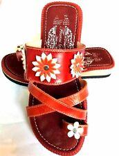 Ladies Mexican Genuine Leather Sandals Flowers Flip Flops Vintage Toe Ring