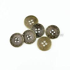 12pcs Fashion Bronze Metal Round 15mm 20mm Sewing Crafts 4 Holes Shirt Button