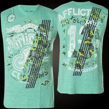 Affliction T-Shirt No Luck Motors Muscle Tee Türkis