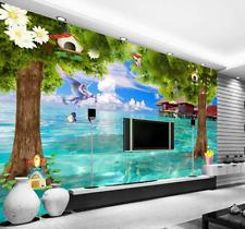Papel Pintado Mural De Vellón Casa De Mar Creativa 2 Paisaje Fondo De Pantalla