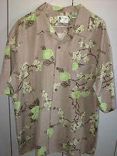 Vintage Silk  Large  Classic Chrysanthemum on Brown Silk/Mint