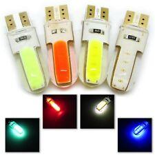 UK x2 SILICONE T10 COB LED W5W 501 GREEN RED WHITE or BLUE BULB 12v